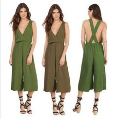 Hotprint - Cross Back Wide Leg Cropped Jumpsuit
