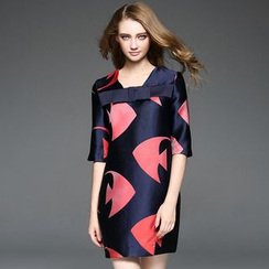 Ozipan - Elbow-Sleeve Printed Bow-Accent Dress