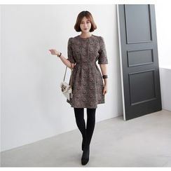 Miamasvin - Shirred Jacquard A-Line Sheath Dress