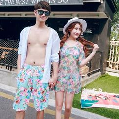 Anfory - Couple Matching Floral Print Bikini + Cover-up / Swim Shorts