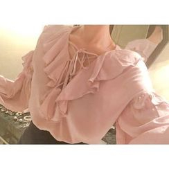 Marlangrouge - Lace-Up Frilled Blouse