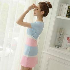 YUMU - 短袖插色塑身連衣裙