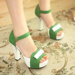 Pastel Pairs - Bow Color-Block Platform Heeled Sandals