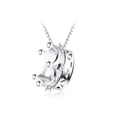 BELEC - 925 Sterling Silver Imperial Crown Pendant with Silver Cubic Zircon and 40cm Necklace