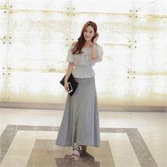 Babi n Pumkin - Banded-Waist A-Line Maxi Skirt