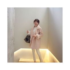 LEELIN - Drop-Shoulder Faux-Shearling Coat
