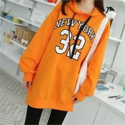 PINKSISLY - Hooded Lettering Long Pullover