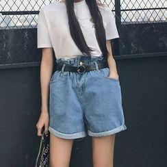 Cattie - Paperbag Waist Wide Leg Denim Shorts