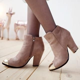 Clair Fashion - Metal-Tip Ankle Boots