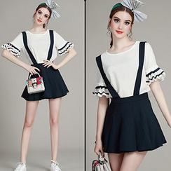 MIUCO - Set: Contrast Trim Short Sleeve T-Shirt + A-Line Suspender Skirt