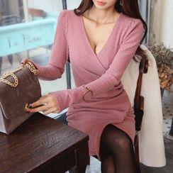 DABAGIRL - Wrap-Front Rib-Knit Bodycon Dress