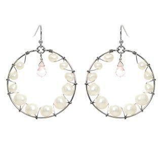 Keleo - Silver rose quartz, pearl earrings
