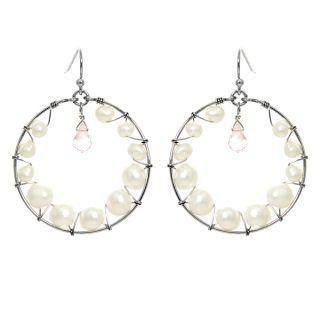 Keleo - Silver rose quartz, pearl earrings