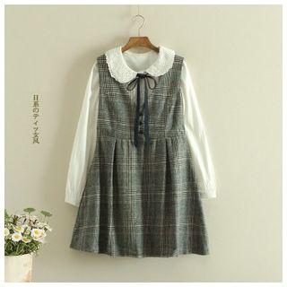 Angel Love - Plaid Sleeveless A-Line Jumper Dress