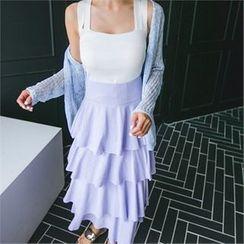 ERANZI - Band-Waist Tiered Long Skirt