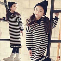 Cuckoo - 童装长袖条纹连衣长裙