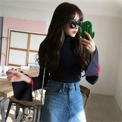 QNIGIRLS - Turtle-Neck Contrast-Trim Rib-Knit Sweater