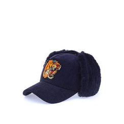 Ohkkage - Tiger Embroidered Corduroy Ear Flap Cap