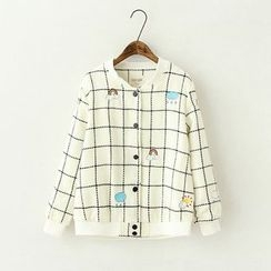 ninna nanna - Cloud Embroidered Window Pane Woolen Jacket