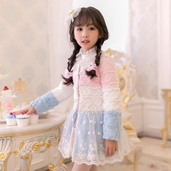 Candy Rain - Kids Lace Panel Color Block Faux Fur Coat