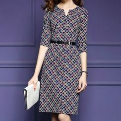 lilygirl - Patterned Elbow-Sleeve Dress