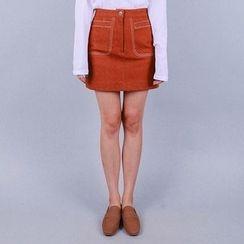 Vintage Vender - Stitched A-Line Mini Skirt