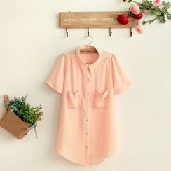 11.STREET - Plain Mesh Chiffon Short-Sleeve Blouse
