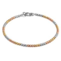 MaBelle - 14K Italian Tri-Color Yellow, Rose and White Gold Diamond-Cut Beads Wire Bangle (55mm), Women Girl Jewelry in Gift Box