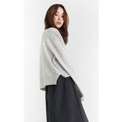 Someday, if - Slit-Hem Wool Blend Knit Top