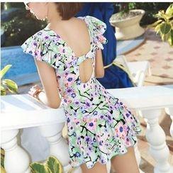 Jumei - Floral Print Swimdress