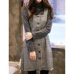 FROMBEGINNING - Glen-Plaid Check Pinafore Dress