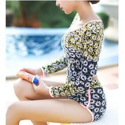 Jumei - Set: Floral Print Rashguard + Swim Bottom