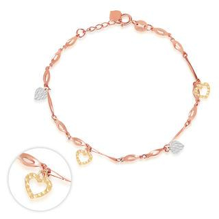 MaBelle - 14K Italian Tri Color Yellow Rose White Gold Diamond-Cut Heart Charm Bracelet, Women Girl Jewelry in Gift Box