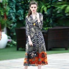 洛圖 - 印花中長連衣裙