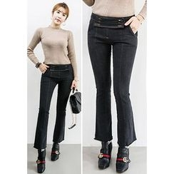 INSTYLEFIT - Button-Front Stitched Boot-Cut Jeans