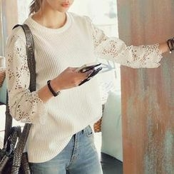 REDOPIN - Lace-Sleeve Ribbed Top