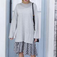 DANI LOVE - Long-Sleeve Checked-Hem Pullover Dress