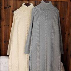 tete - Turtleneck Cable-Knit Sweater Dress