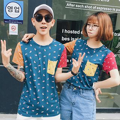 LYSTUN - Couple Matching Print Short-Sleeve T-Shirt