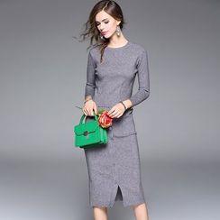 Dyder - 套装: 短款针织上衣 + 饰扣针织短裙
