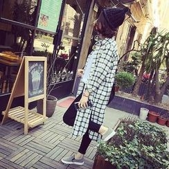 Happy Bird - Long-Sleeve Slit-Hem Check Long Blouse
