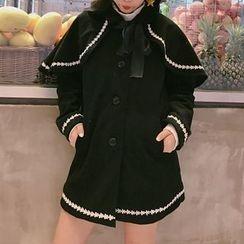 Cloud Nine - Lace Trim Woolen Coat