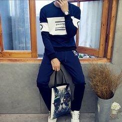 Jimboy - Set: Lettering Sweatshirt + Sweatpants