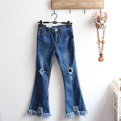 akigogo - Ripped Boot Cut Jeans