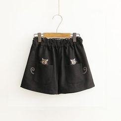 Vateddy - Cat Embroidered Wide Leg Shorts