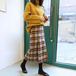 Hello sweety - Slit-Front Plaid Skirt