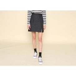 Envy Look - Slit-Front Denim Skirt