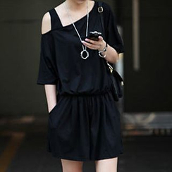 Champi - Plain Asymmetric Playsuit