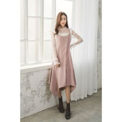 migunstyle - Faux-Suede Ruffle-Hem Long Suspender Dress