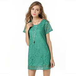 LIVA GIRL - Short-Sleeve Jacquard Shift Dress
